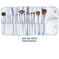16pcs plastic handle makeup brushes with same color satin case