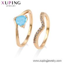 15444 Xuping Women Girls Style Royal Jewelry diseño conjunto de anillos de piedra de hielo