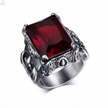Anéis góticos feitos a mão militares da jóia de aço inoxidável do diamante do vintage