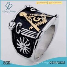 Acier inoxydable or noir argenté anneau pour hommes maçonnique