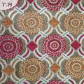 Tela de sofá Jacquard circular Chenille rojo y amarillo (FTH32087)