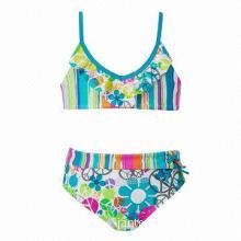Girls' nylon/spandex bikinis, fold-over waist with decorative lace-up design, UV cut, highly elastic