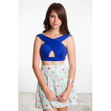 2015 New Summer Fashion Cross Front Sexy Crop Top