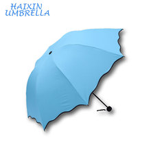 Meet Water Show the Flower with UV can OEM Your Logo 3 Folding Sun Umbrella Promotional Gifts