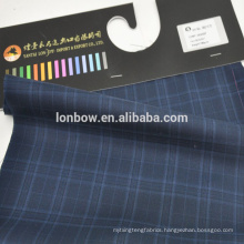 In stock wrinkle free blue check fabric made from 50 wool and 50 polyester weight 265g/m
