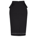 Grace Karin Womens color sólido de alta Estirado Hips-Wrapped Vintage retro falda lápiz negro CL010454-1