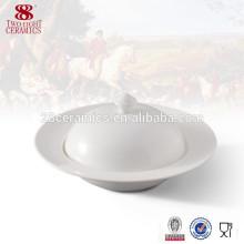 Sopera de cerámica blanca de la sopa de la forma del porcelana de la vajilla de cerámica