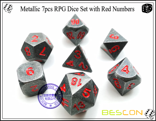 Metallic 7pcs RPG Dice Set with Red Numbers-2