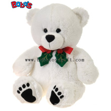 "11""White Xmas Soft Plush Teddy Bear Christmas Toy"