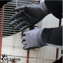 SRSAFETY high quality safety gloves/15g nylon & spandex foam nitirle coated excellent dexterity glove