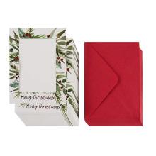 Paquete de 36 Notas personales para fotos - Tarjetas fotográficas para días festivos Incluye papel y sobres Tarjetas de felicitación de papel rojo Merry Christmas