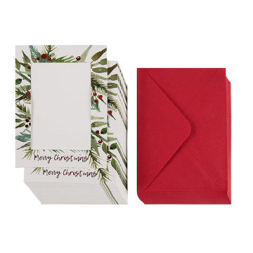 Paquet de 36 cartes de correspondance avec photo - Cartes de photo des fêtes avec papier et enveloppes, cartes de voeux joyeux Noël, rouge