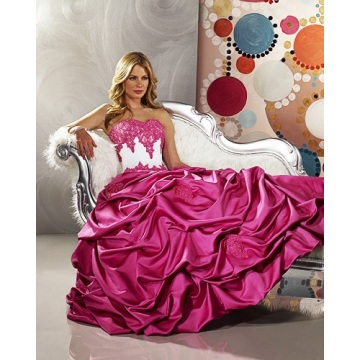 Ball Gown Sayang strapless Satin Lantai Panjang Wedding Dress Mengacak-acak Beading