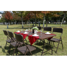 Leisure Outdoor Folding Furniture 6FT HDPE Plastic Garden Wicker Rattan Table