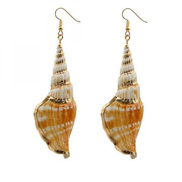 Womens Golden Accent Ocean Seashell Conch Mermaid Sea Witch Drop Dangle Earrings