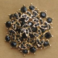 black crystal vintage jewel brooches