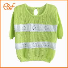 Motifs de chandail de tricot de main de chandail d'été de manches courtes d'été avec la dentelle