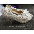 Lace hollow out fish mouth high-heeled women shoes wedding shoes WS049