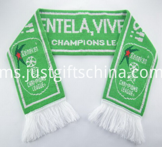 Promotional Green Color Printed Knitted Scarf2