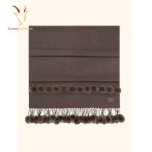 Winter Solid Color Merino Wool Plaid Blanket Scarf Fur Scarf