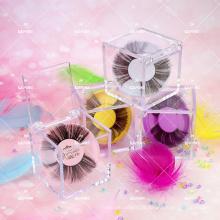 Cubic Acrylic Clear Customized Lash Cute Packaging Low Minimum Girly Colorful Round Tray Own Logo Cube 25mm Big Mink Eyelash Box
