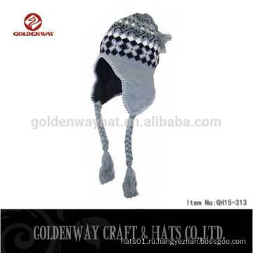 2016 100% Акриловые на заказ трикотажные шапки-шапочки-ботинки из ветровки Зимняя теплая шапочка
