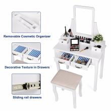 Conjunto de vaidade, 2 grandes gavetas deslizantes, removível maquiagem organizador penteadeira com espelho e fezes