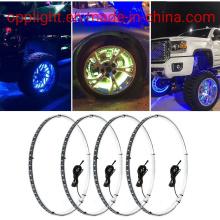 15.5inch RGB LED Wheel Ring Light Kit Bluetooth Control W/Turn Signal and Braking Function-4PCS (SINGLE side)