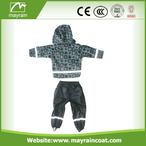 PU Children Grey Rainsuits