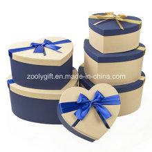 Hearted Shape Especial de papel con textura de colores coincidentes Gift Boxes de embalaje con Ribbon Bow