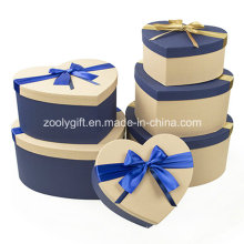 Hearted Shape Special Textured Paper Matched Color Gift Packing Boxes with Ribbon Bow