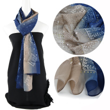 Fashion Two tone color emboidery silk scarf custom with Sequins