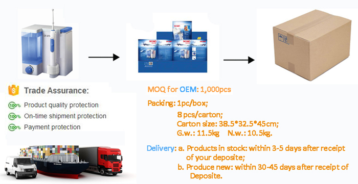 Packing and shipping of oral irrigator