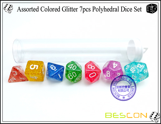 Assorted Colored Glitter 7pcs Polyhedral Dice Set-2