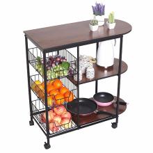 Portable Rolling Wire Shelf Wood Top Cocina Almacenamiento Trolley