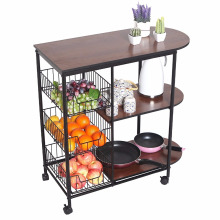 Portable Rolling Wire Shelf Wood Top Kitchen Storage Trolley