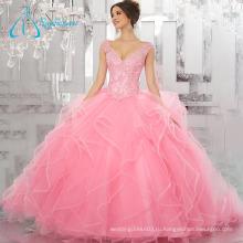 Блестками Бисером Кристалл Розовый Пышное Платье Бальное Платье