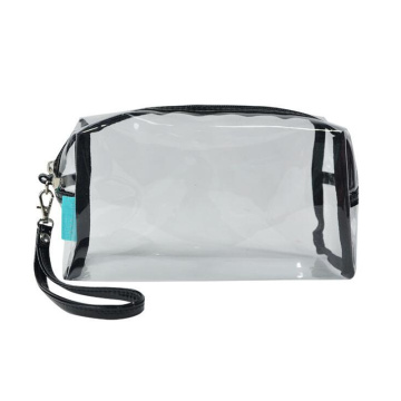 Customize Logo Imprint Transparent PVC Plastic Clear Women Cosmetic Bag