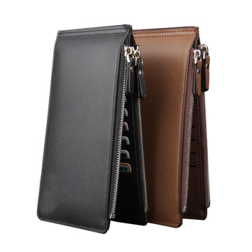 Rfid Zip Pocket Leather Funda de titular de la tarjeta de crédito