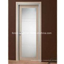 Puerta francesa de madera moderna con vidrio, puerta batiente de vidrio