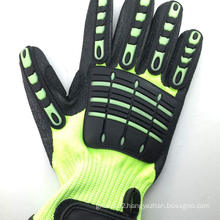 SRSAFETY 2016 new style industrila working used anti impact men safety gloves,black TPR gloves