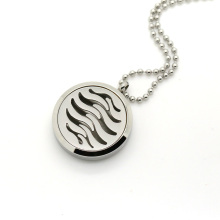 Stainless steel wave pendant diffuser necklace