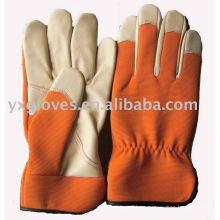 Guante de color naranja guante de cuero de cerdo guante de trabajo guante de jardín