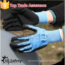 SRSAFETY high quality safety gloves/13g blue nylon liner black foam latex gloves/garden gloves/safety gloves