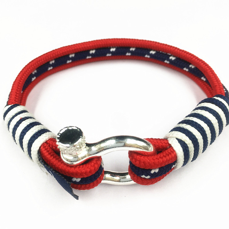 Stainless Steel Shackle Cotton Nylon Cord Bracelet