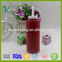 Cilindro de LDPE de boca ancha vacío squeeze botella de salsas de plástico de 300ml