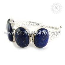 Шикарный синий Ляпис драгоценный камень ювелирных изделий из серебра 925 стерлингового серебра браслет ручной работы серебро ювелирные изделия