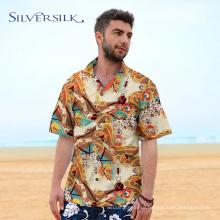 Custom Short Sleeve Casual Mens Blouse Printed Shirt