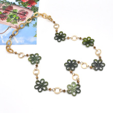 Custom green acrylic hawaiian flower necklace jewelry chain