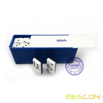 Two Tone Double Six Domino Game Set in Plastic Box